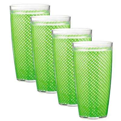 Fishnet 24 oz. Lime Green Insulated Drinkware (Set of 4)