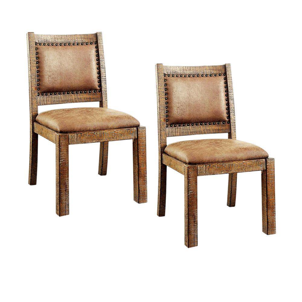 Colette Rustic Oak Industrial Side Chair (Set of 2)