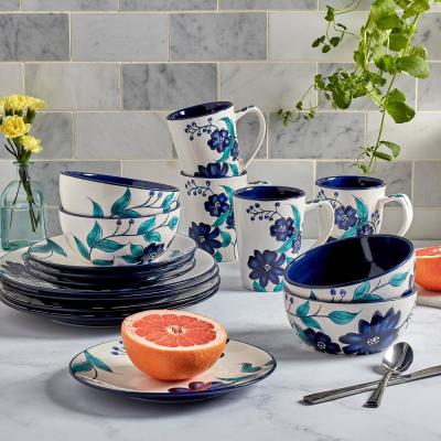Forget Me Not 16-Piece Traditional White Earthenware Dinnerware Set (Service for 4)