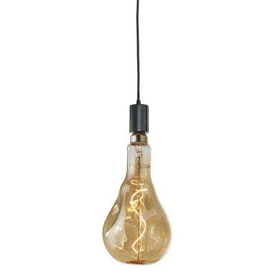 1-Light Natural Black Marble Pendant Socket and Canopy with LED 4-Watt Droplet Shaped Grand Nostalgic Light Bulb