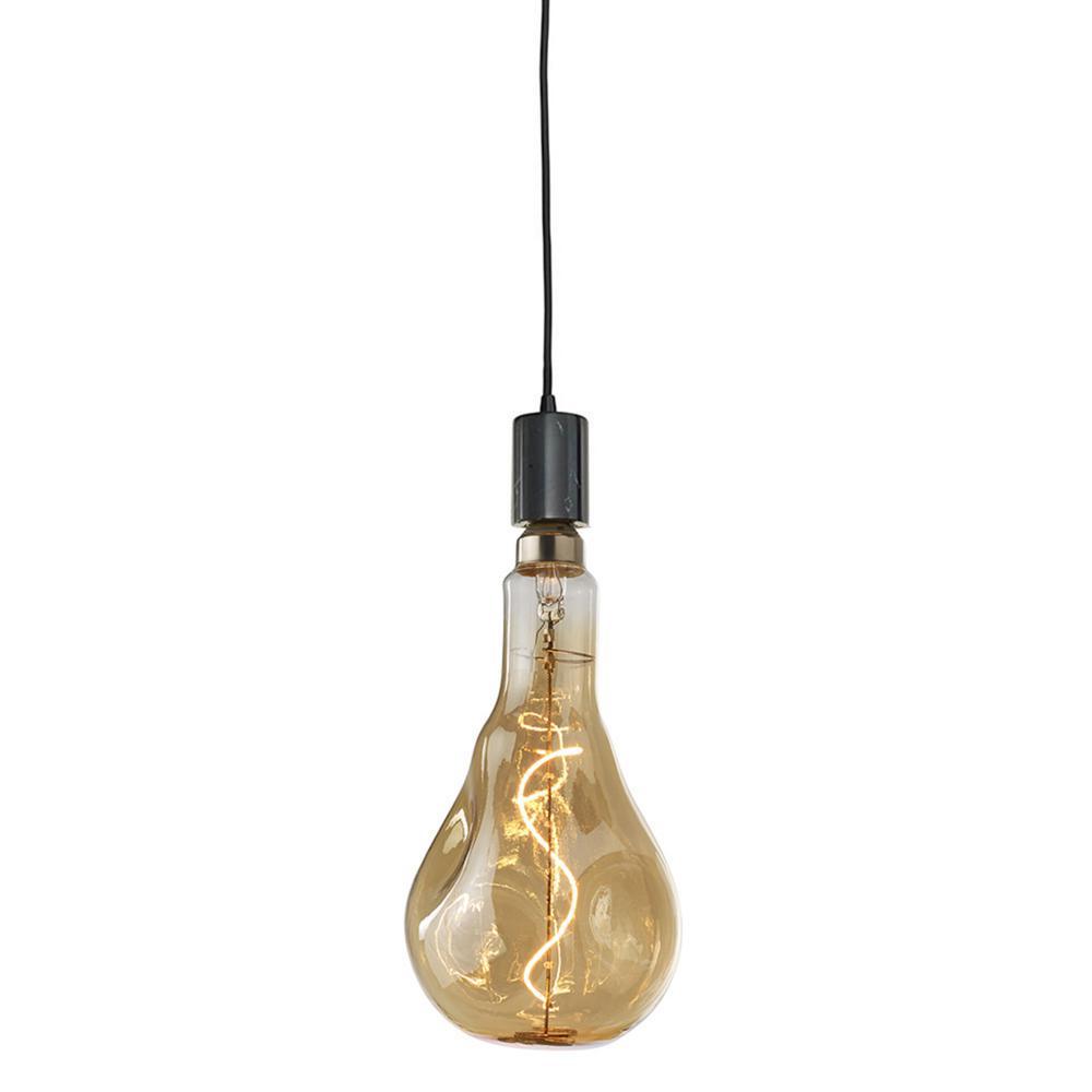 1-Light Natural Black Marble Pendant Socket and Canopy with LED 4-Watt Droplet Shaped Grand Nostalgic Light Bulb