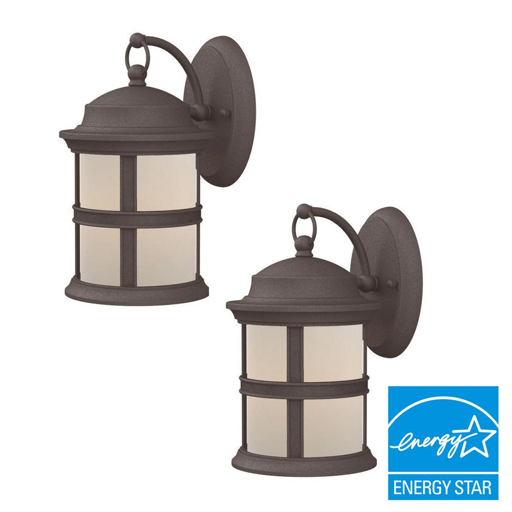 Hampton bay 6 watt bronze outdoor integrated led wall mount lantern hampton bay 6 watt bronze outdoor integrated led wall mount lantern 2 pack aloadofball Choice Image