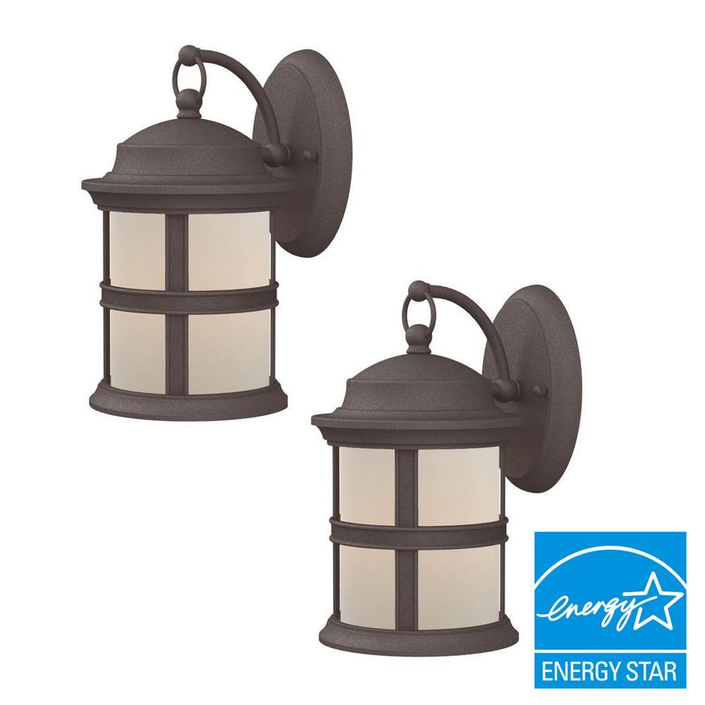 6 Watt Bronze Outdoor Integrated LED Wall Mount Lantern 2 Pack