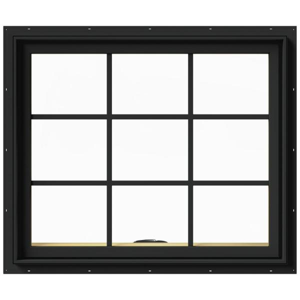 36 in. x 30 in. W-2500 Series Bronze Painted Clad Wood Awning Window w/ Natural Interior and Screen