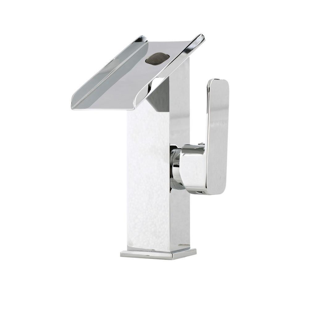 Kokols Cerviel Series Single Hole 1 Handle Cascade Waterfall Vessel Bathroom Faucet In Chrome