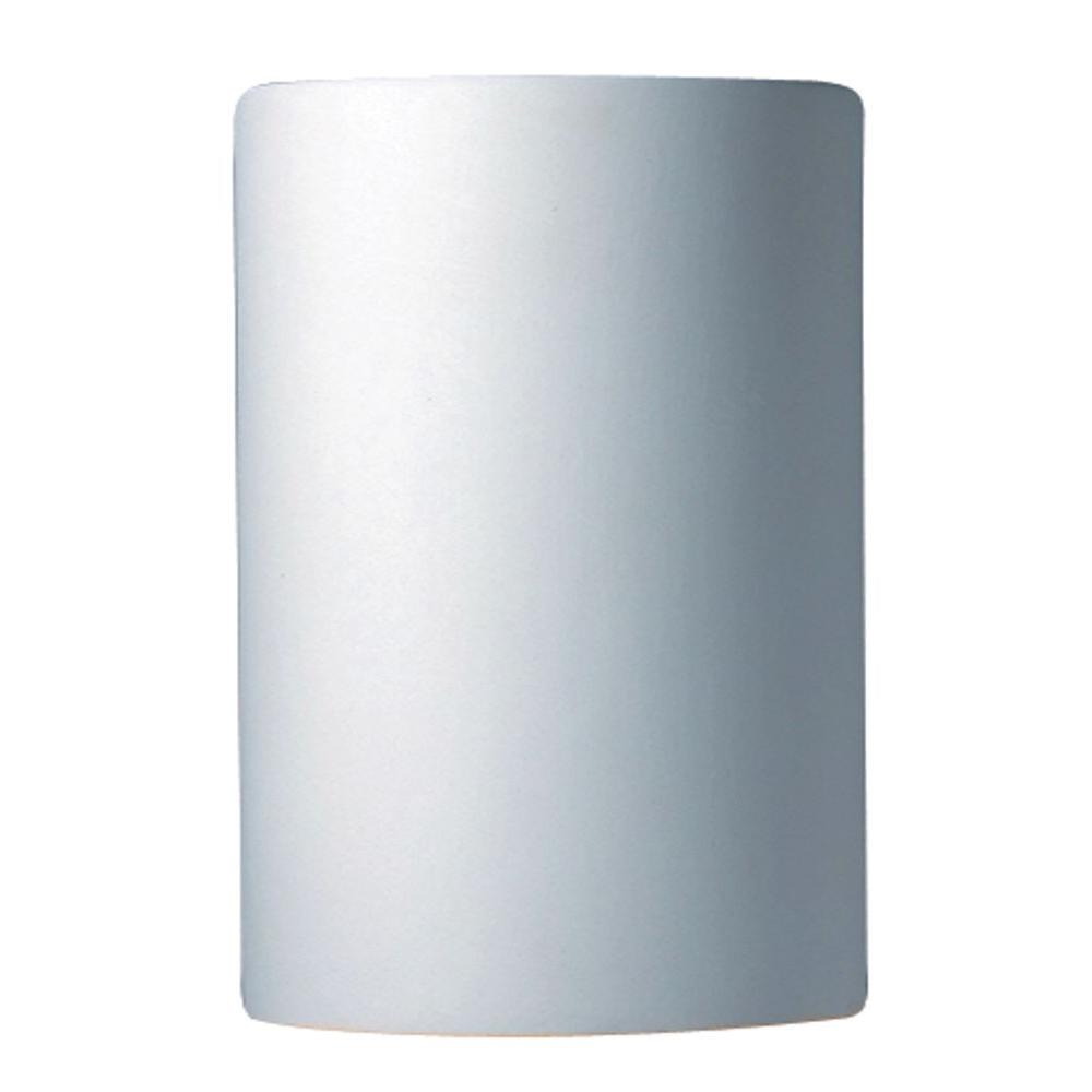 Leonidas 1-Light Paintable Ceramic Bisque Small Cylinder Closed Top Sconce