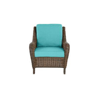 Cambridge Brown Wicker Outdoor Patio Lounge Chair with CushionGuard Seaglass Turquoise Cushions
