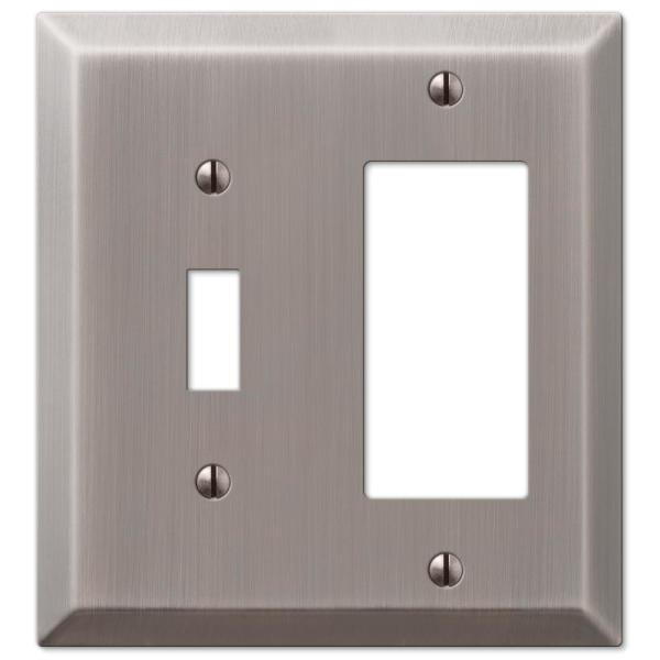 Metallic 2 Gang 1-Toggle and 1-Rocker Steel Wall Plate - Antique Nickel