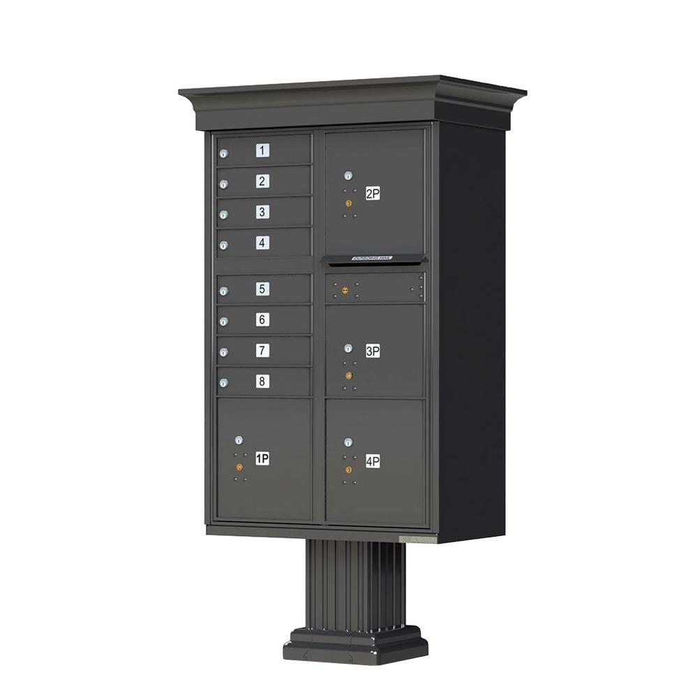 1570 Series 8-Mailboxes, 1-Outgoing, 4-Parcel Lockers, Vital Cluster Box Unit