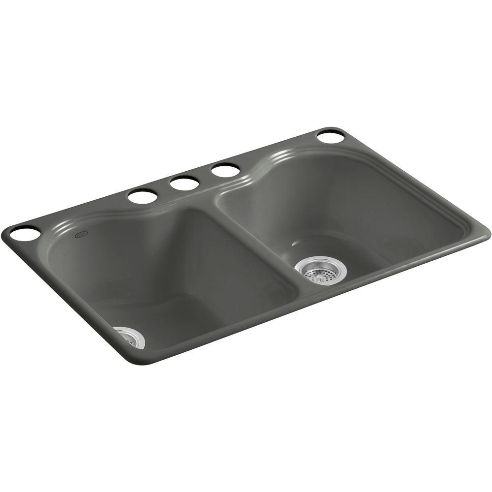 Kohler Hartland Undermount Cast Iron 33 In 5 Hole Double