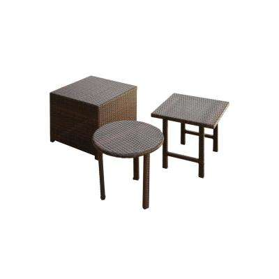 Christopher Multi-Brown Round and Square Wicker Outdoor Accent Table