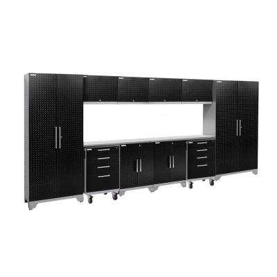 Performance 2.0 Diamond Plate 77.25 in. H x 156 in. W x 18 in. D Stainless Steel Worktop Cabinet Set Black (12-Piece)