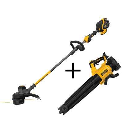 60-Volt MAX Li-Ion Cordless FLEXVOLT Brushless 15 in. String Grass Trimmer with Bonus Bare Cordless Handheld Blower