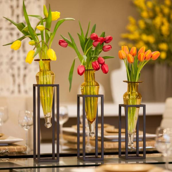 18 in., 16 in. and 14 in. Glass Decorative Amphora Vase on Square Tubing Metal Stands in Amber Glass (Set of 3)