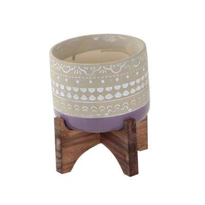 5 in. Berry Purple Mayan Ceramic Pot with 2-Tone Color Block Planter on Wood Stand Mid-Century Planter