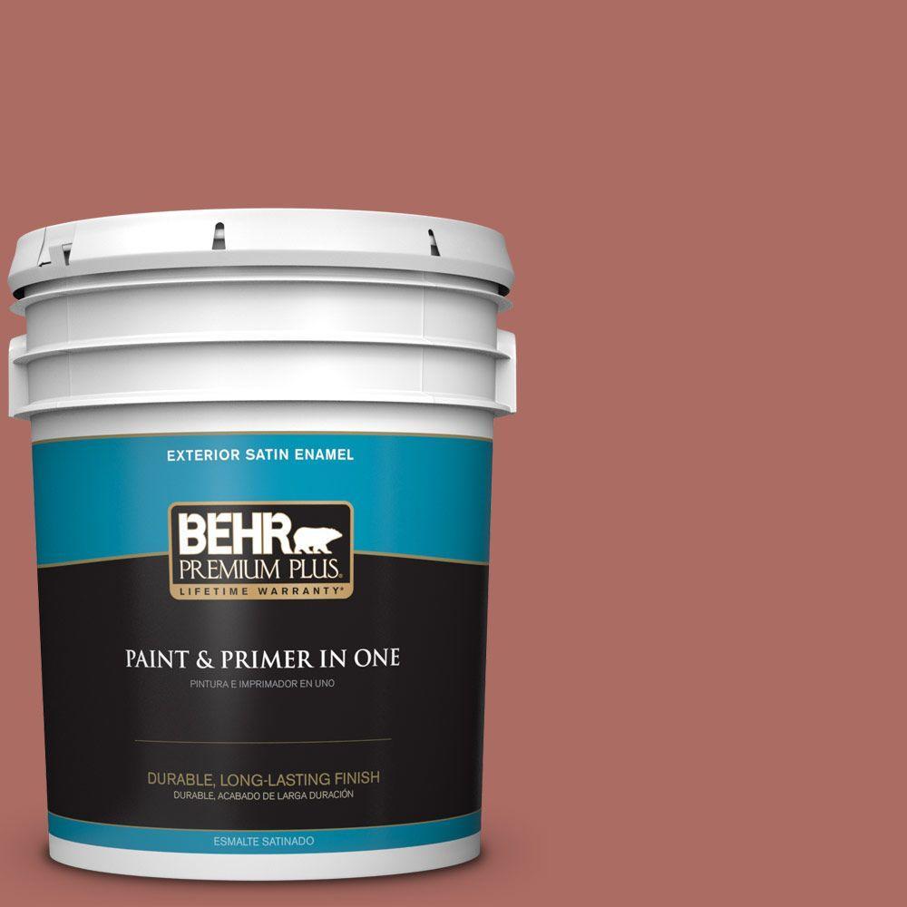 BEHR Premium Plus 5-gal. #PPF-20 New England Brick Satin Enamel Exterior Paint