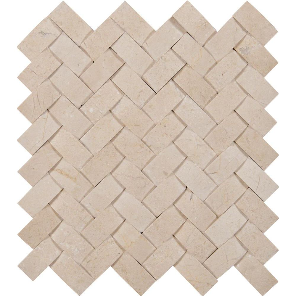 MSI Crema Arched Herringbone 12 in. x 12 in. x 10mm Polished Marble Mesh-Mounted Mosaic Wall Tile