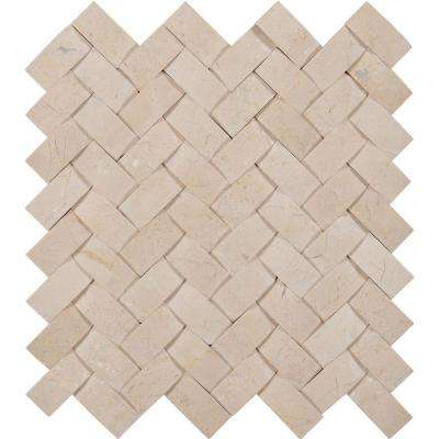 Crema Arched Herringbone 12 in. x 12 in. x 10mm Polished Marble Mesh-Mounted Mosaic Tile (10 sq. ft. / case)