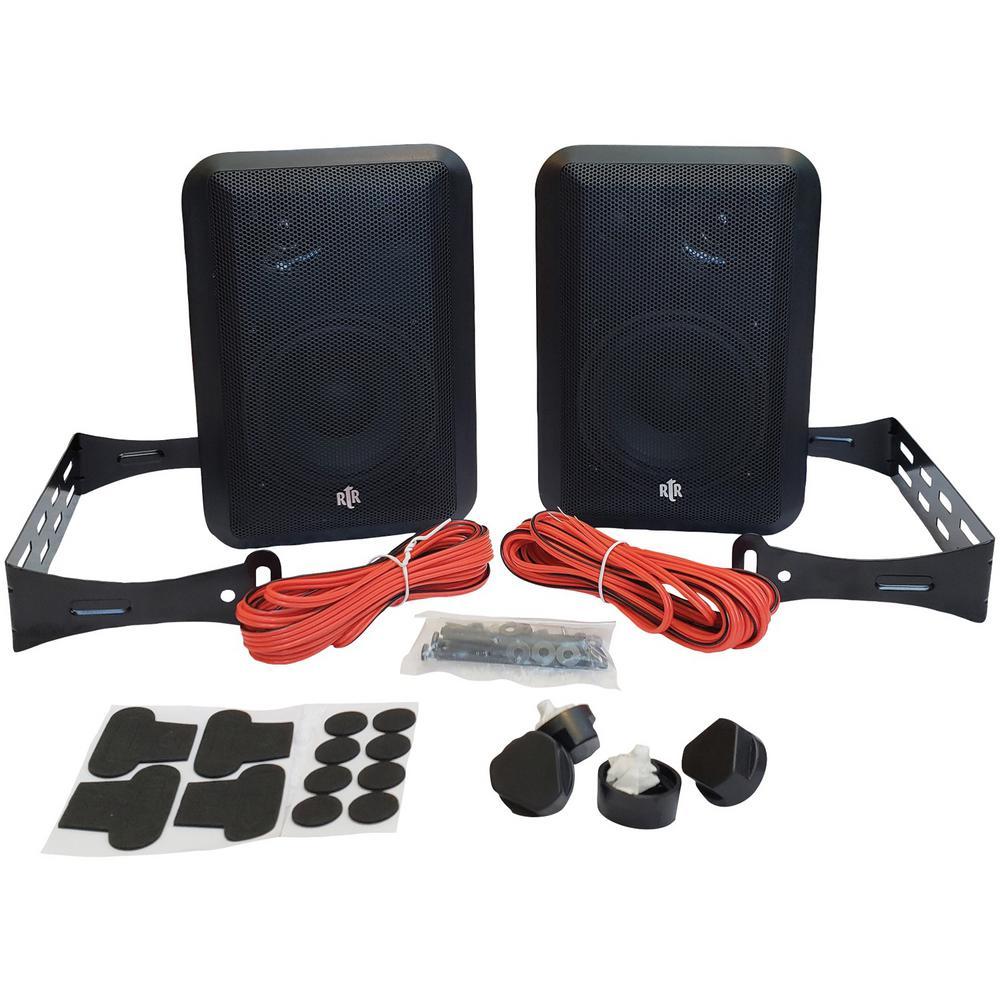 100-Watt 3-Way 4 in. RtR Series Indoor/Outdoor Speakers in Black