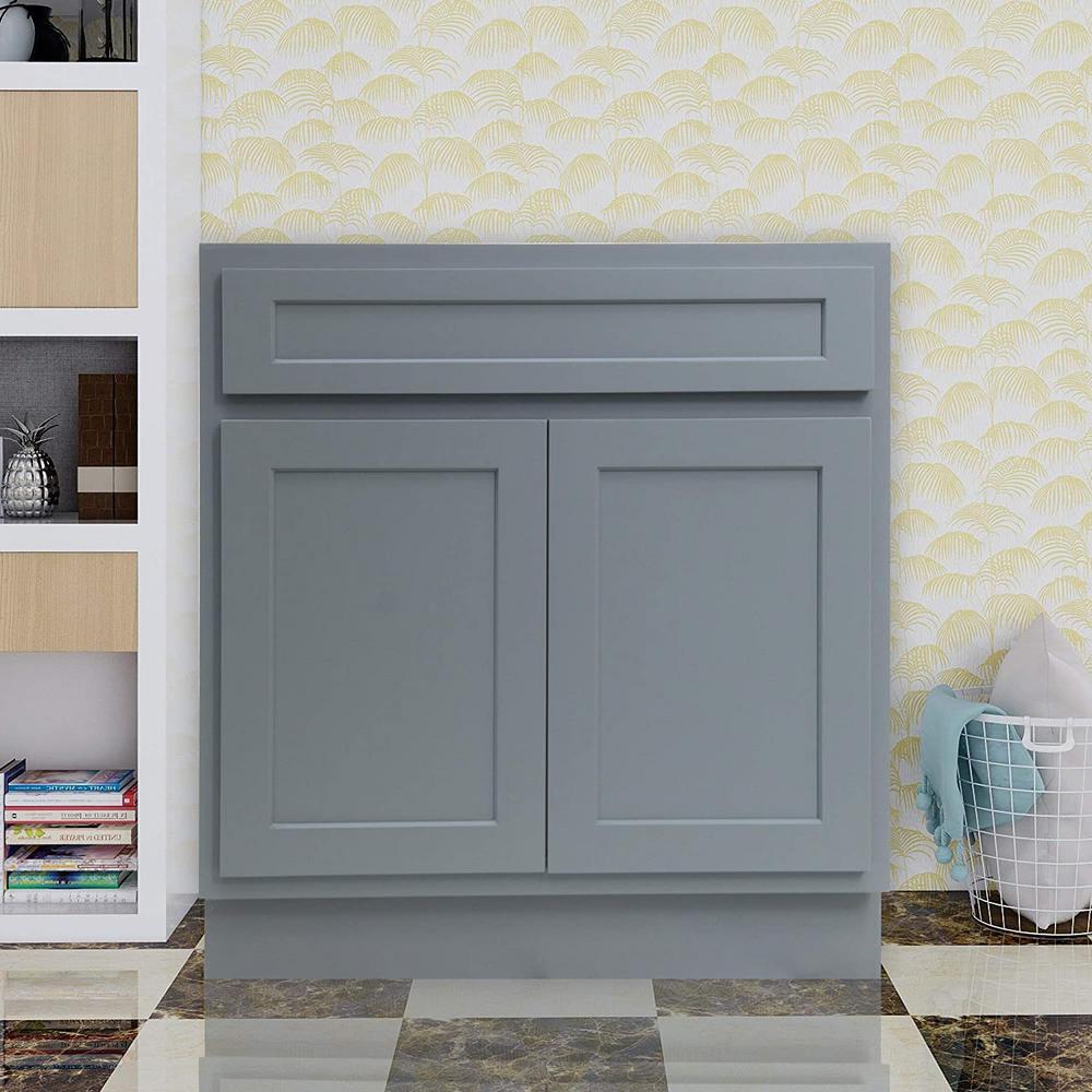 36 in. W x 21 in. D x 32.5 in. H 2-Doors Bath Vanity Cabinet Only in Gray