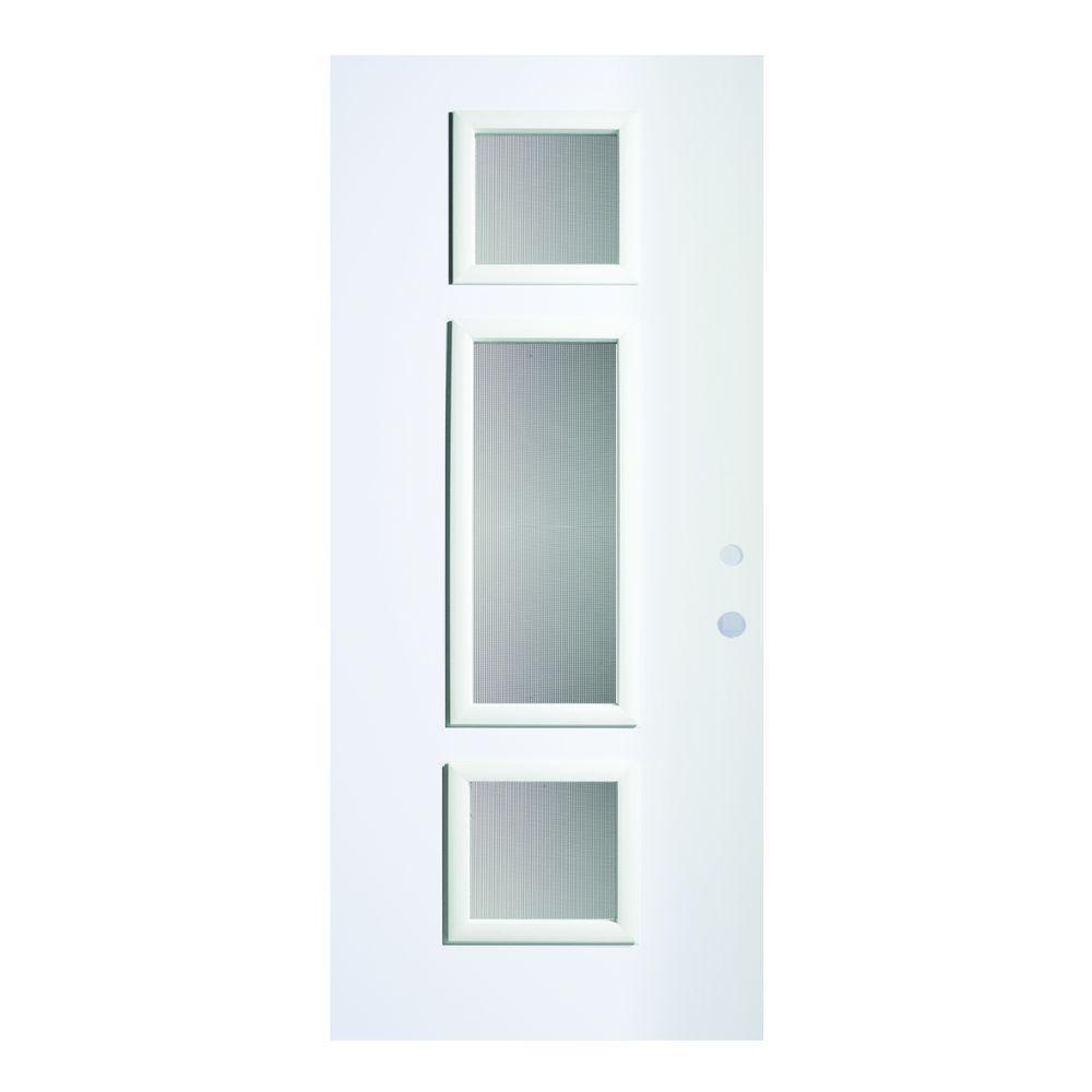 Stanley Doors 36 In X 80 In Marjorie Screen 3 Lite Painted White Left Hand Inswing Steel