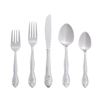 Rose Monogrammed Letter B 46-Piece Silver Stainless Steel Flatware Set (Service for 8)