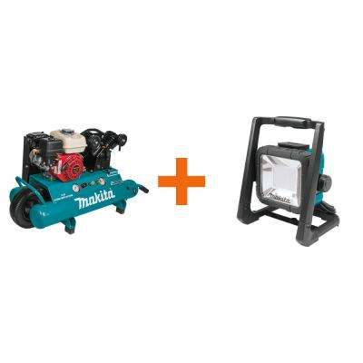 10 Gal. 5.5 HP Portable Gas-Powered Twin Stack Air Compressor with bonus 18-Volt LXT Cordless/Corded LED Flood Light