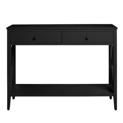 Oakley Black Wood 2 Drawer Console Table with X Side Detail (39.37 in. W x 29.3 in. H)