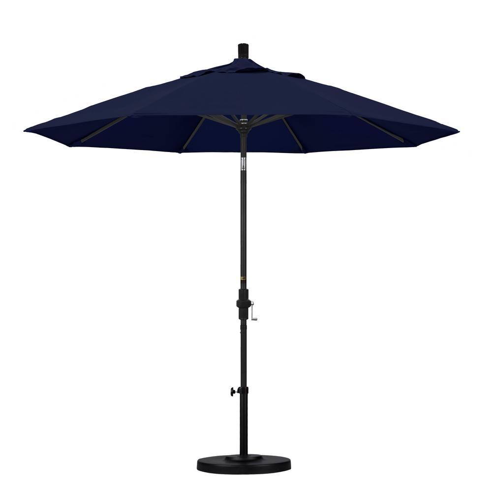 9 ft. Aluminum Collar Tilt Patio Umbrella in Navy Blue Olefin
