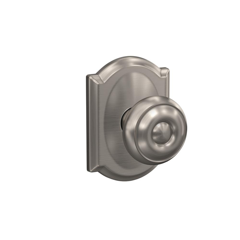 Schlage custom georgian satin nickel camelot trim combined - Satin nickel interior door knobs ...