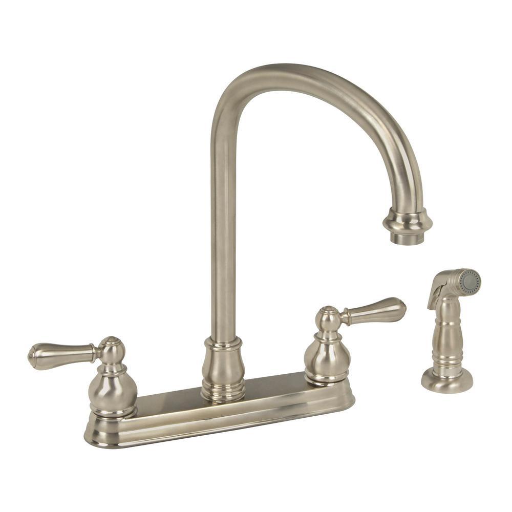 Merveilleux American Standard Hampton 2 Handle Standard Kitchen Faucet In Brushed  Nickel With Escutcheon Plate