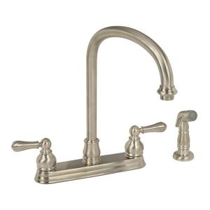 hampton 2handle standard kitchen faucet in brushed nickel with escutcheon plate