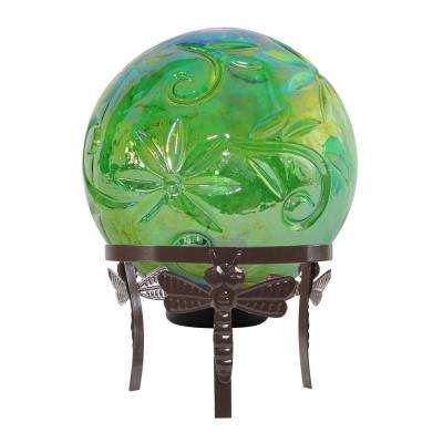 13 in. Tall Green Glass Globe Decor with LED Light