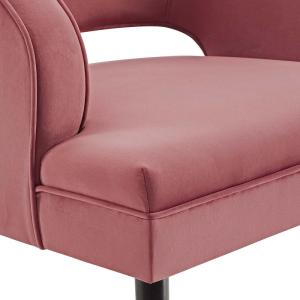 Traipse Dusty Rose Button Tufted Open Back Performance Velvet Armchair