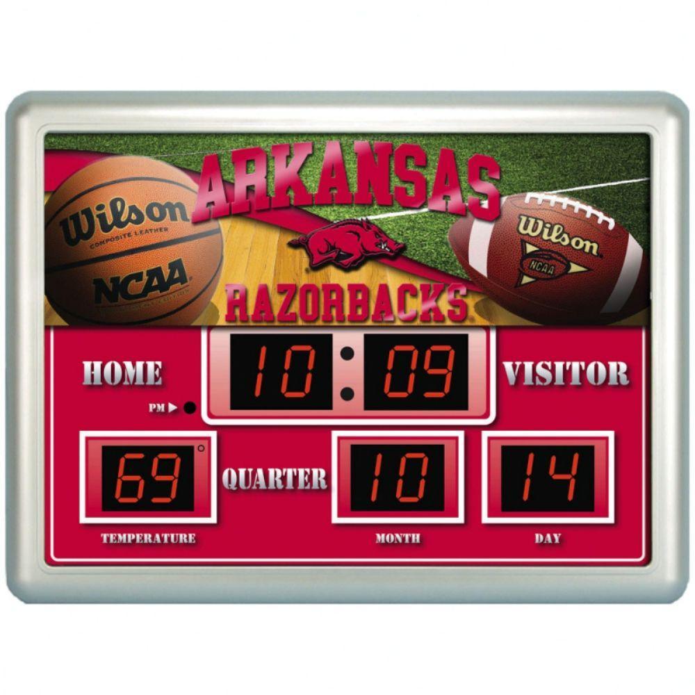 null University of Arkansas 14 in. x 19 in. Scoreboard Clock with Temperature