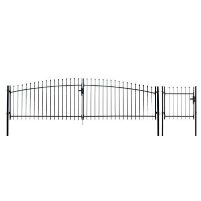 Athens Style 13 ft. x 5 ft. Black Steel DIY Dual Swing Driveway Fence Gate with 3 ft. x 5 ft. Pedestrian Gate