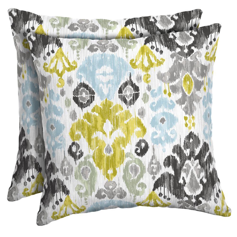 Aquamarine Kenda Ikat Square Outdoor Throw Pillow (2-Pack)