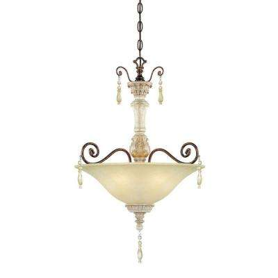 3-Light Antique White/Bronze Pendant with Florentine Scavo Glass