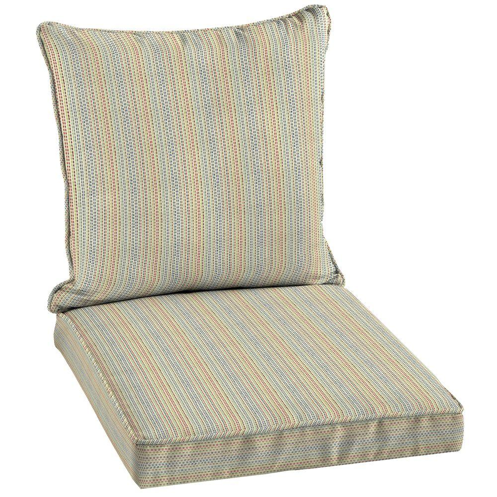 Hampton Bay Ticking Stripe Welted Outdoor Dining Seat Cushion  Set FF72082B 9D4   The Home Depot