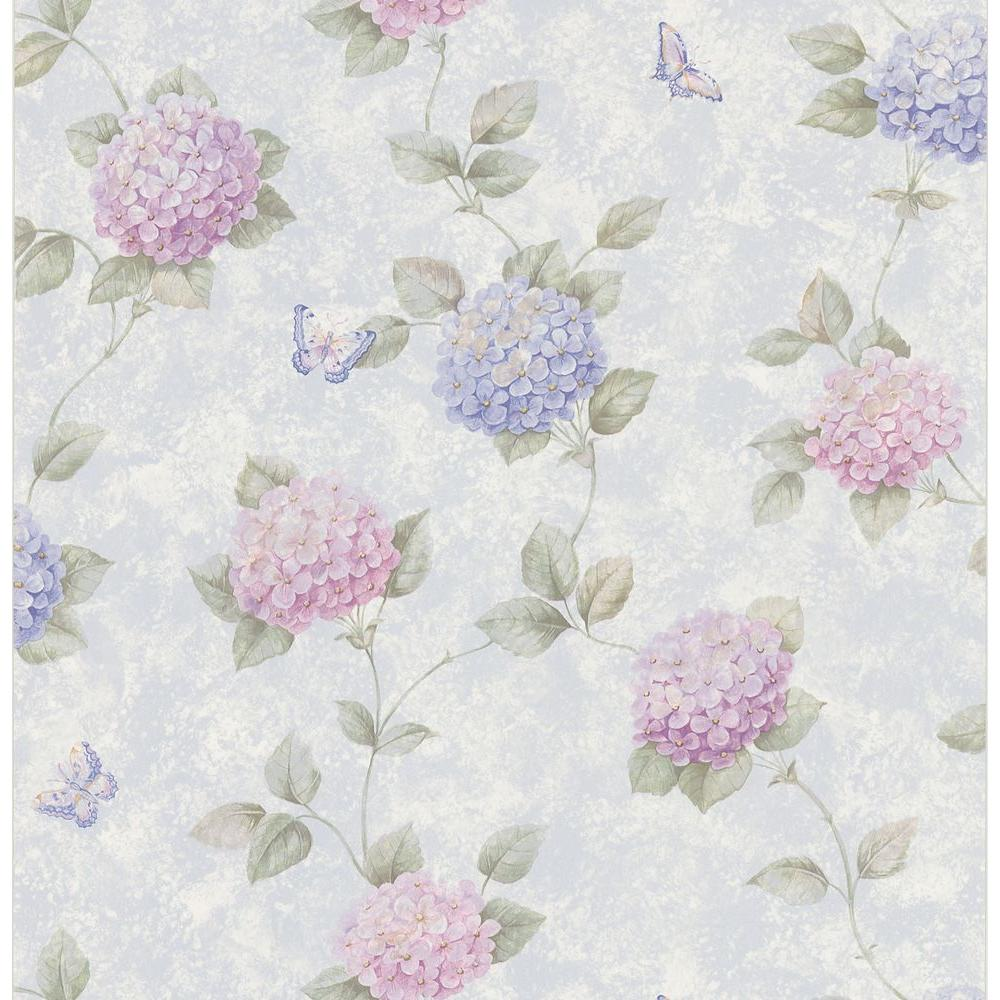 Brewster 56 sq. ft. Hydrangea Floral Wallpaper
