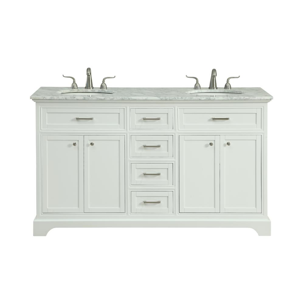 Easton 60 in double bathroom vanity w 4 drawers 1 shelf - Small bathroom vanity with drawers ...