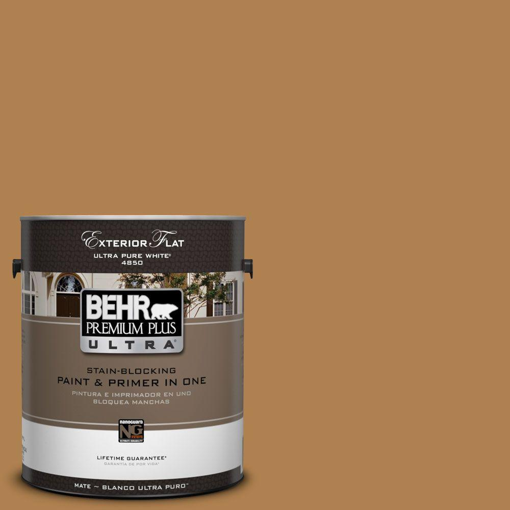 BEHR Premium Plus Ultra 1-Gal. #UL160-2 Gold Plated Flat Exterior Paint