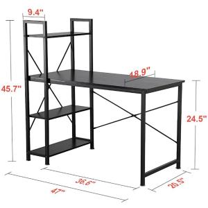 Utopia Alley Modern Style Computer Desk With 4 Tier Attached