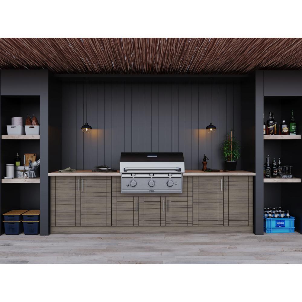 Sanibel Weatherwood 17-Piece 121.25 in. x 34.5 in. x 28 in. Outdoor Kitchen Cabinet Set