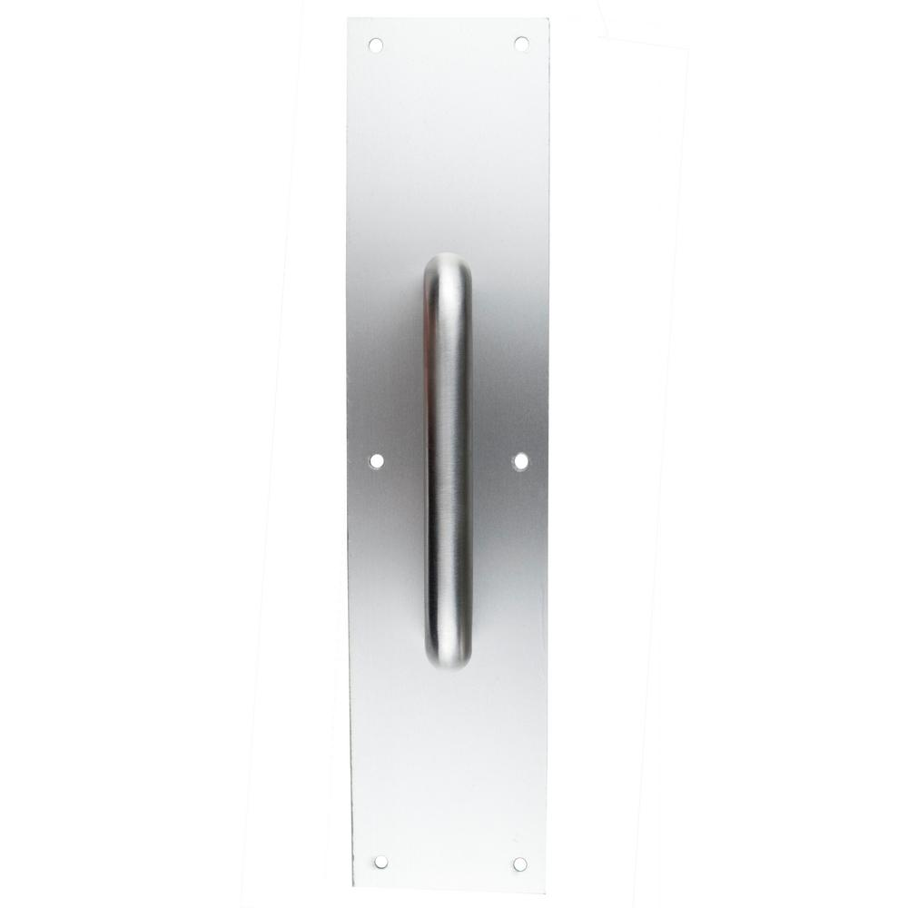 3.5 in. x 15 in. Aluminum Push Plate with Round Pulls