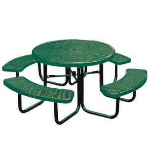 Portable Green Diamond Commercial Park Round Picnic Table by