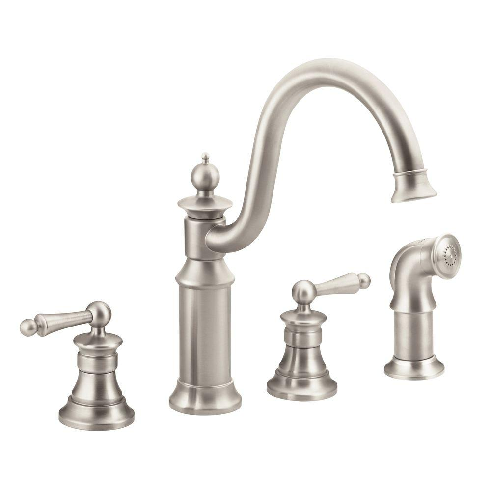 moen two handle kitchen faucet moen waterhill high arc 2 handle standard kitchen faucet 25258