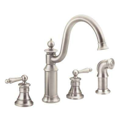 Waterhill High-Arc 2-Handle Standard Kitchen Faucet with Side Sprayer in Spot Resist Stainless