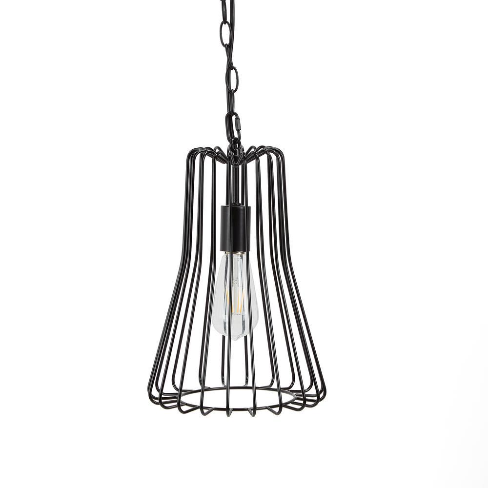 Bryton 6-Watt Black Metal Wire Bell 1-Light Integrated LED Pendant
