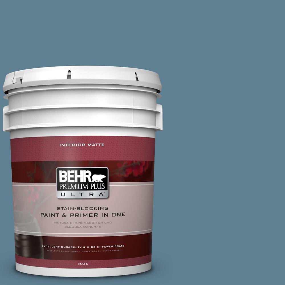 BEHR Premium Plus Ultra 5 gal. #BXC-36 Aegean Blue Matte Interior Paint